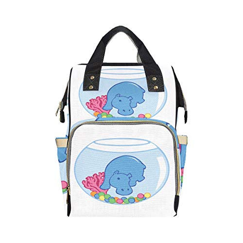 Big Swimming Hippo Lovely Animal Modern Backpack Diaper Bag Mom Dad Changing Large Capacity Multi-function Travel Diaper Bag Backpack For Baby Girl Boy