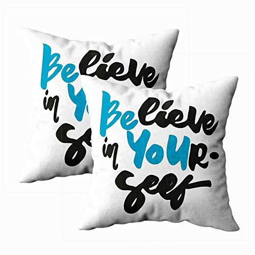Juego de 2 fundas de almohada para exteriores, 45,7 x 45,7 cm, con frase inspiradora, para fitness, gimnasio, decoración del hogar, fundas de almohada con cremallera para sofá