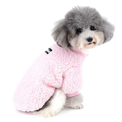 Zunea Wintermäntel für kleine Hunde Fleece Warm Hundepullover Sweater Welpen Winterjacke Chihuahua Katze Kleidung Haustier Jungen Mädchen Hundebekleidung Rosa L