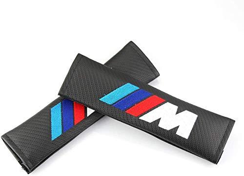 TGH (C-M) Kit de 2 Almohadillas M Motorsport para cinturón de Coche ((Acabado Fibra de Carbono))