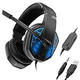 FAGavin Gaming Headset 3,5 Millimetri + USB, Cuffie Stereo Surround con Riduzione del Rumore del Microfono Ed Effetto Luce for Desktop Computer Portatile del PC (Color : Blue)