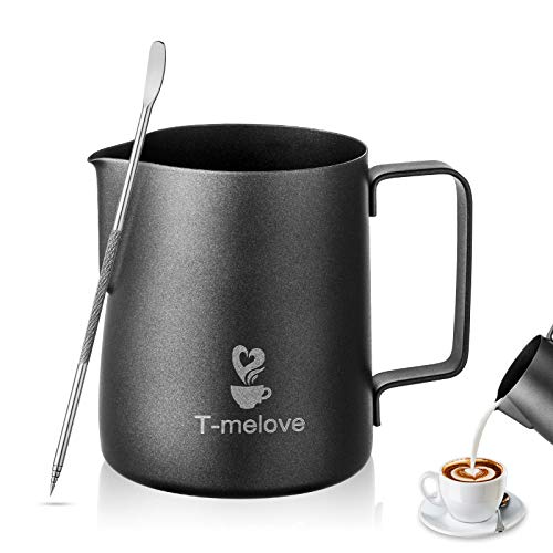 Tmelove Milk Frothing Pitcher Stainless Steel 304Black Espresso Steaming Pitcher 350ml/12ozS Coffee Milk Frother Cup with Decorating Art Pen 12oz / 350ml