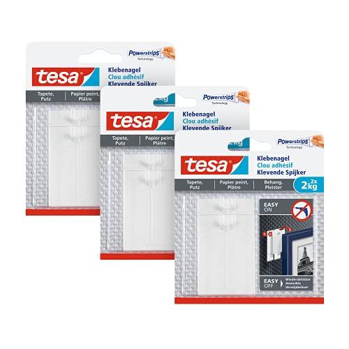 tesa Klebenagel für Tapeten und Putz 2kg im 3er Pack - Selbstklebende Nägel für empfindliche Oberflächen - rückstandslos - bis zu 2kg Halteleistung pro Nagel - 3 x 2 Klebängel