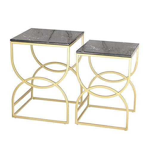 FENGTAB Nestingtafels, set van 2 salontafeltafelzijtafel, tafelhoektafel, nachtkastje, marmer bureaublad, metalen frame
