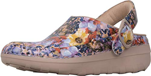 FitFlop Gogh Pro Superlight Flowercrush Leather Clogs, Oyster Pink, Size 6