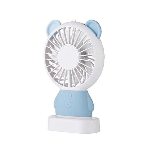 YP-tafelventilatoren Handheld Fan Mini oplaadbare student USB-ventilator houdt een draagbare kleine fan huidvriendelijk gevoel Mini draagbare kleurrijke nachtlampjes blauw