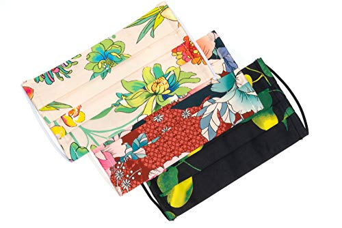 Medi+Sons Supply Re-usable Washable Designer Fabric Women's Face Covering Mask, Decorative Floral Patterns, 3 Pack