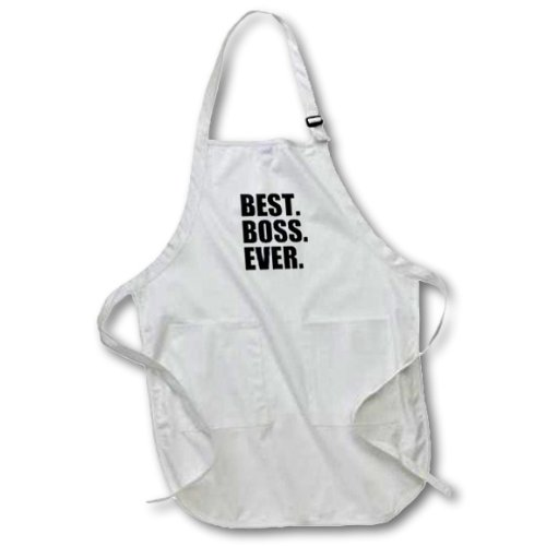 3dRose apr_151477_2 Best Boss Ever Funny Gifts for Boss Work Office Humor Black Text Medium Length Apron with Pouch Pockets, 22 by 24-Inch