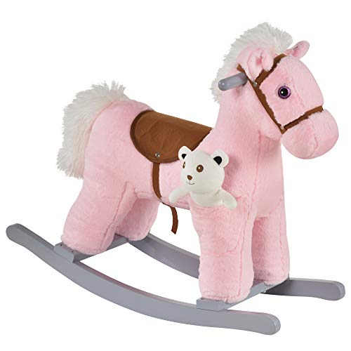 Qaba Kids Plush Ride-On Rocking Horse with Bear Toy, Children Chair with Soft Plush Toy & Fun Realistic Sounds, Pink