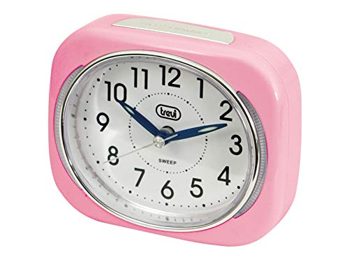 Trevi Retro Bedside/Travel Alarm Clock with LED Backlight and Silent Sweep Second Hand, Pink, 10x3.6x8 cm
