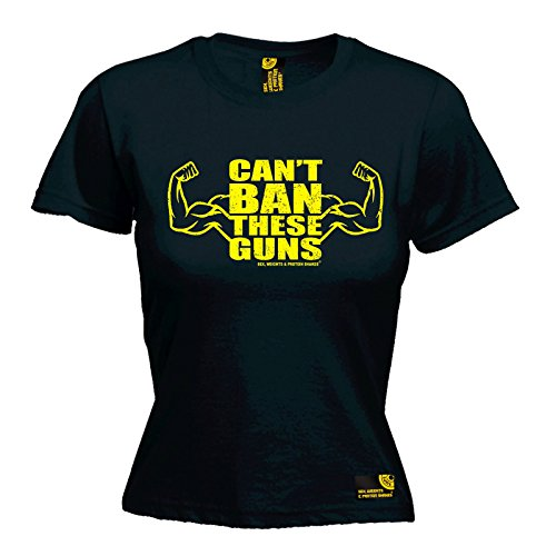 Sex Weights And Protein Shakes SWPS - Women's Can't Ban These Guns Ladies Fitted T-Shirt tee Training Workout Gym Fitness Christmas Birthday Gift MMA Present top for he Black