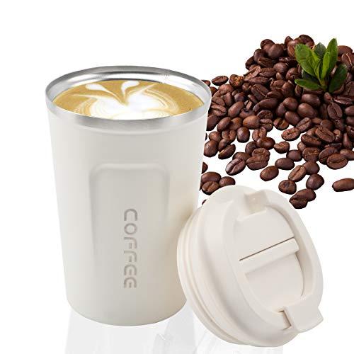 Koffie Beker, MOMSIV Vacuüm Herbruikbare Lekvrije Dubbele Muur Koffie Beker, Isolatie RVS Milieuvriendelijke Travel Office Mok voor Hete Koffie Thee en Koude Dranken, 13oz/380ml Kleur: wit