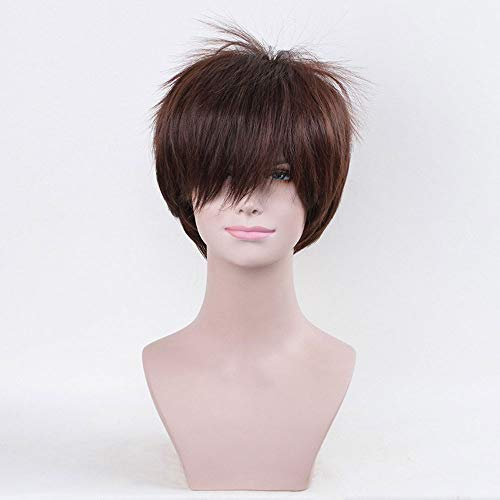STfantasy Perruque Homme Courte Brune Naturel Synth/étiques cheveux Anime Cosplay Costume Party