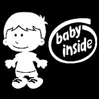 カーステッカー 21センチメートル* 17Cかわいい少年漫画の赤ん坊の内側ビニールのファッションカーステッカーアクセサリー カーステッカー (Color Name : Silver)