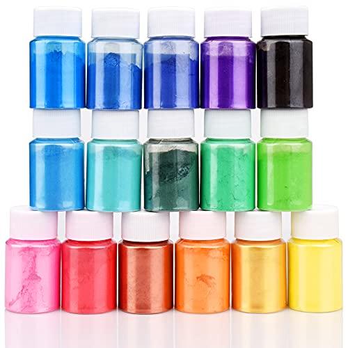 Pigmento de Resina Epoxi - 16 Colores x 10g Mica en polvo Tinte de Resina Epoxi - Colorante de Limo de Grado Cosmético para Fabricación de Jabón Bomba de Baño, Arte de Uñas, Pintura - 160 g To