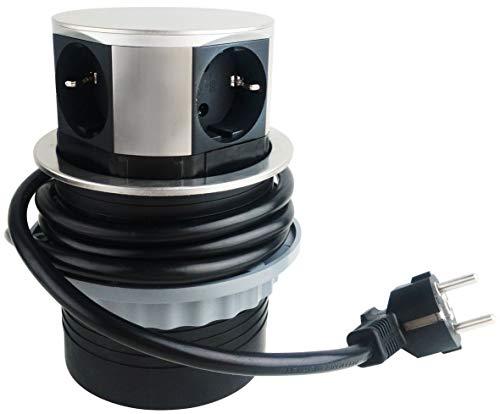 ChiliTec verzonken contactdoos voor bureau/werkblad 230 V met aansluitkabel (roestvrij staal, 3 x stopcontacten + 2 x USB)