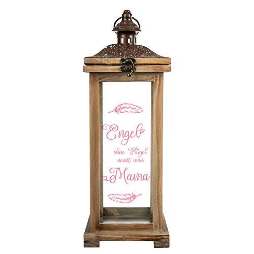 Geschenke 24 Landhaus Laterne Holz Engel ohne Flügel nennt Man Mama (Ohne Wunschname) - Deko Laterne groß - Herz Geschenke für, Geschenk zum Muttertag, Geburtstag, Weihnachten