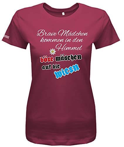 Jayess Brave Mädchen kommen in den Himmel böse Mädchen auf die Wiesn - Oktoberfest Trachten - Damen T-Shirt in Sorbet by Gr. L