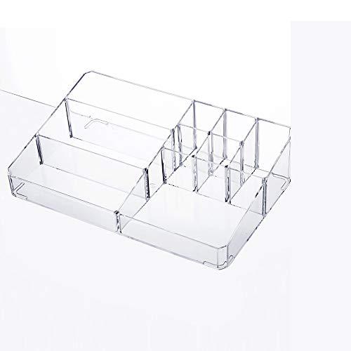 QCCOKNN - Caja de almacenaje para cosméticos, plástico transparente, para escritorio, para pintalabios, cuidado de la piel