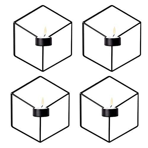 Kandelaar Voor Tafelhuis Ornament Scandinavische Stijl 3D Geometrische Wandgemonteerde Kandelaar Metalen Kandelaar Home Decor 4-Pack Theelicht (Kleur: Zwart)