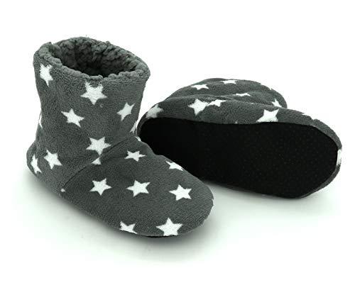 heimtexland ® Flauschige Hausschuhe Soft Boots Sterne Gefüttert Anti-Rutsch Stiefel Hüttenschuhe Silber-Grau 35-38 Typ648