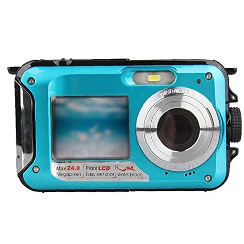 Rrunzfon Submarina cámara Digital de la cámara 48MP cámara Impermeable con Doble Pantalla para bucear Surf natación Azul de grabación de vídeo con Facilidad