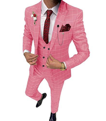 Lovee Tux Trajes de cuadros para hombre, 3 piezas, solapa de muesca para boda, novio, esmoquines para hombre, verano, cena, baile de fin de curso - rosa - 54