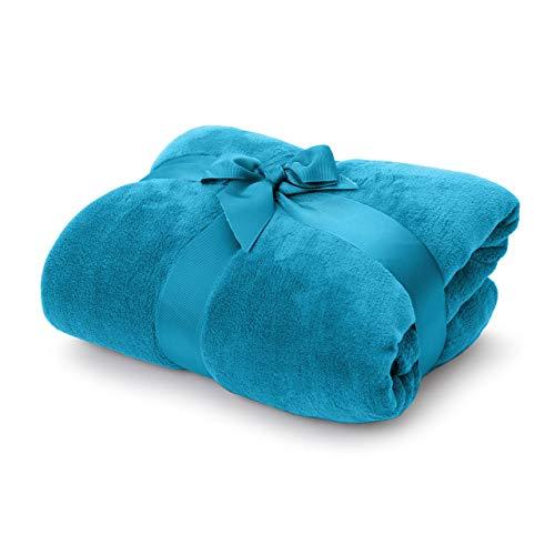 Lumaland Manta Suave Forro Polar Caliente para acurrucarse 100% Microfibra 150 x 200 cm Azul Celeste