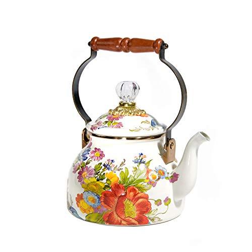 MacKenzie-Childs Flower Market Enamel Tea Kettle, Decorative Floral Teapot, 2-Quart Tea Kettle, White