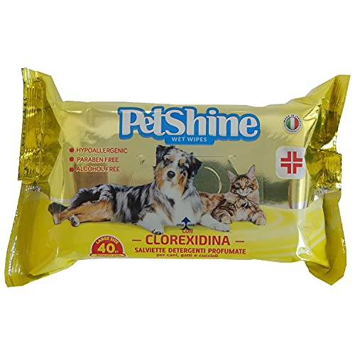 PORRINI Toallitas Higiene para Perro y Gato, Clorexidina