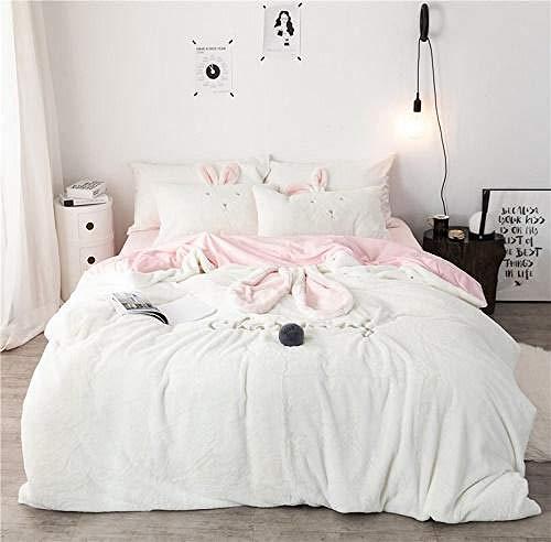 TYDH 42 Pink White Gray Rabbit Ears Embroidery Fleece Fabric Girl Child Bedding Sets Velvet Duvet Cover Bed sheet/Linen Pillowcases 2 King Size 4pcs