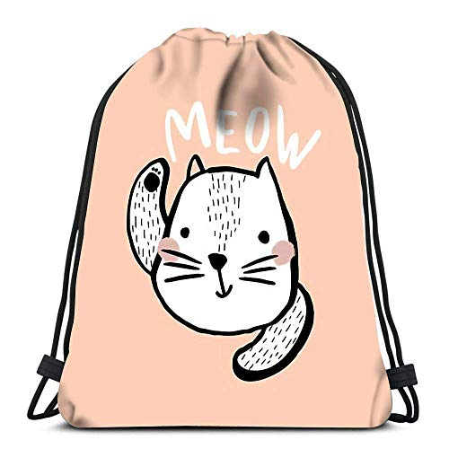 Lmtt Drawstring Bags Backpack Cute Cat With Text Meow Brush And Ink Creative Kids Print Perfect For Travel Gym Bags Rucksack Shoulder