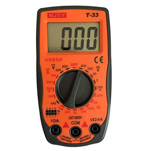 NJTY T-33 - Multímetro digital CC/AC Medidor de corriente Mini amperímetro Ohm Diodo HFE Continuidad Probador 2000 cuentas Multitester