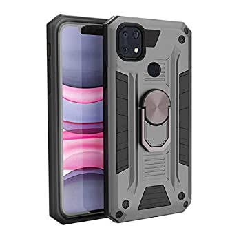 DAMONDY Case for ZTE Z6250,ZTE Zmax 10 Case,Kickstand 360 Ring Holder Military Grade for Men Boys,Heavy Duty Hybrid Hard Cover Phone Rugged Case for ZTE Zmax 10 -Grey