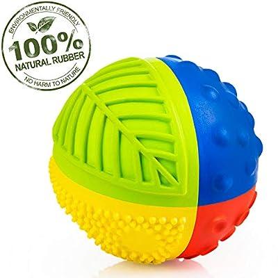 "Pure Natural Rubber Sensory Ball (3"") RAINBOW - SEALED HOLE, All Natural Sensory Toy, Promotes Sensory Development, Bright Colors, Perfect Bouncer, BPA Free, PVC Free, Hole Free Sensory Ball for Baby from Nova Nature"