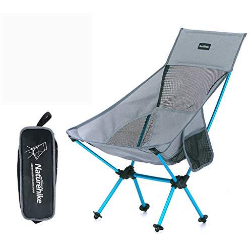 XXHDEE Chair Leisure Stool Outdoor Portable Folding Chair Back Chair Light Camping Beach Chair Grey Lounge Chair