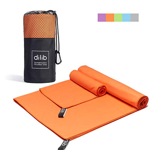 dilib 2 Pack Microfiber Towel Sets,Quick Dry Sports Travel Towel,Camping Towel - M&XL 2 Size,Super Absorbent&Lightweight,Fast Drying,Perfect for Camping,Gym,Beach,Swimming,Backpacking,Orange