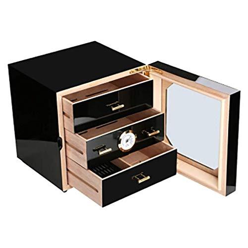 Dirgee Caja de cigarros Mellow Partición Independiente Threelayer Cedrar Madera Maciza Piano Pintura Pintura Cigar Humidor Cigar Gabinete de cigarro Almacenamiento