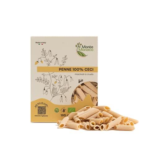 Monte Monaco – Pasta di legumi 100% Farina di Ceci Biologica, pasta proteica e naturalmente senza glutine, 3 monodose da 65gr, 2 x 195gr (PENNE)