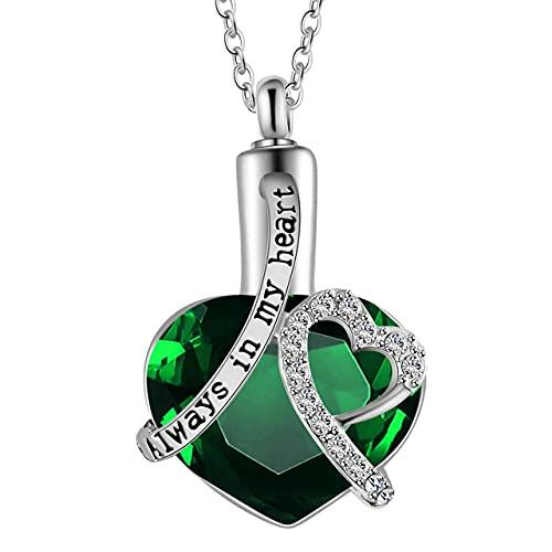 KBFDWEC Collar de Ceniza de cremación de corazón de Cristal, Collar con Colgante de urna Conmemorativa de Recuerdo para Mujeres y Hombres, los Mejores Regalos