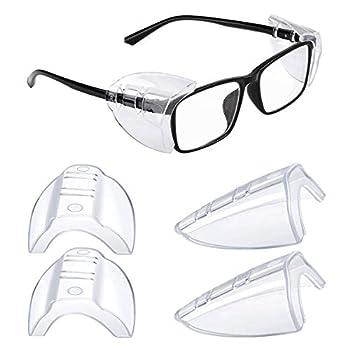 2 Pairs Side Shields for Prescription Glasses Safety Glasses Side Shields for Eye Protection Slip on Side Shields for Eye Glasses Fits Small to Large Eyeglasses