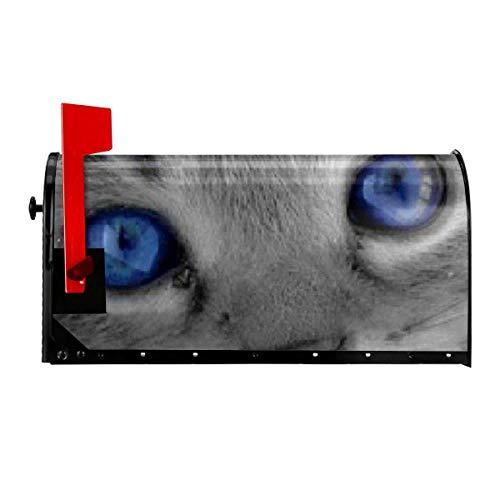 Odeletqweenry Grijze Kat met Blauwe Ogen Print Postbus Cover Magnetische Postbus Wraps Brievenbus Doos Cover Standaard Grootte 21 x 18 Inch Waterdichte Canvas Postbus Cover