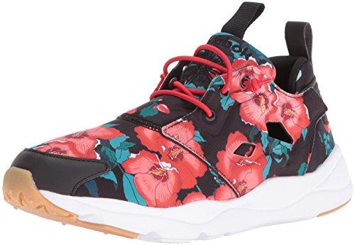 Reebok Women's Furylite fg Fashion Sneaker, Floral/Black/Scarlet/White, 6.5 M US