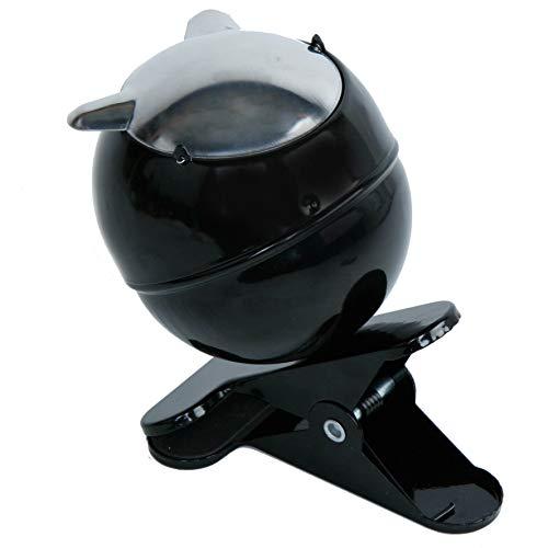MIK funshopping Cendrier à pince avec couvercle rabattable noir/argenté