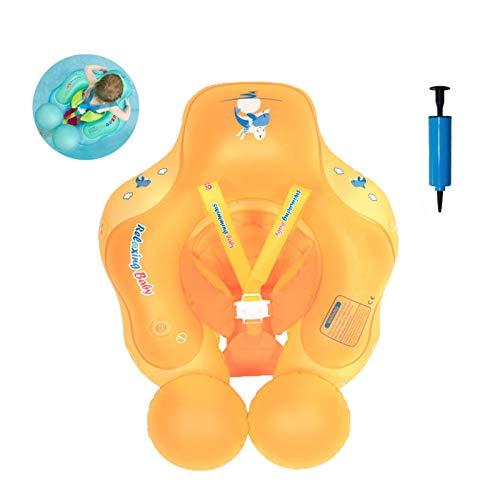 Olaffi Baby Schwimmen Schwimmhilfe Ring, Kleinkind Kinder Baby mit Sicherheitsgurt, Anti-Umkippen Aufblasbare Schwimmreifen Schwimmsitz für Kinder ab 6 bis 30 Monate,Orange,XL