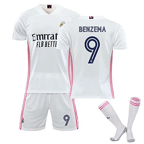 CBVB Uniforme De Fútbol, # 9 Benzema En Blanco Traje De Entrenamiento De Fútbol Madrid, 20/21 Hombres Jersey, Adultos Y Niños Tops Camiseta T-Shirts Calcetines White#9-24