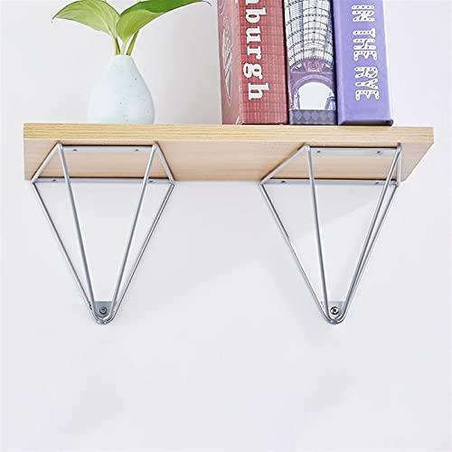 JIE KE Display Racks Decorative Shelf Brackets, Industrial Floating Shelf Bracket Wall Mounted, DIY Shelving Pyramid Design, Iron Set Of 2 Storage Organizer (Color : WHITE)