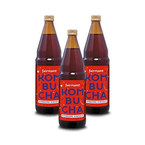 "Fairment lebendiger Kombucha ""Himbeere-Hibiskus"" - 3 Flaschen Bio Kombucha Tee unpasteurisiert"