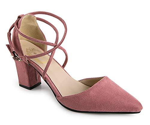 Minetom Damen Elegant Spitz Zehe Schuhe Kreuz Knöchel Riemen Nubuk Sandalen Mit Blockabsatz Rosa 35