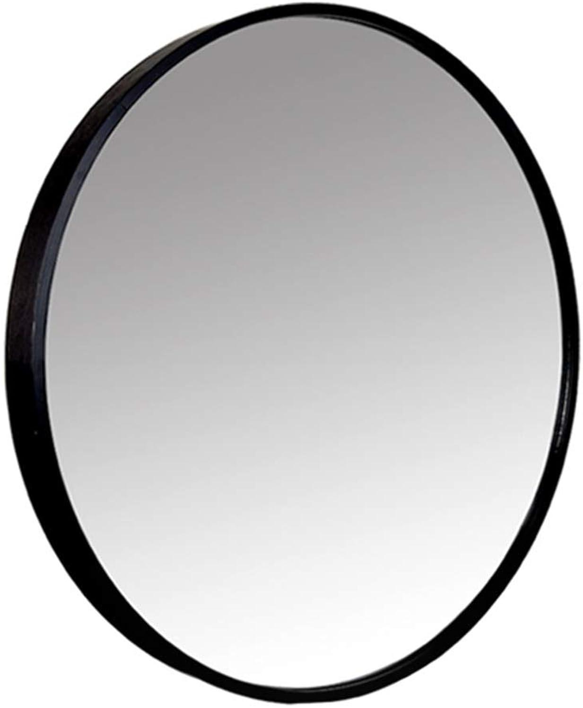 Modern Decorative Metal Frame Wall Mirror, Floating Round Mirror, Creative Makeup Shaving Iron Mirrors, Black